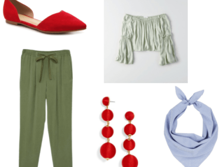 Luther from Freddi Fish Outfit Inspiration: Red ball shoulder duster earrings, striped cotton bandana, red cutout flats, dusty olive off-the-shoulder, bell sleeve top, and green chino pants.