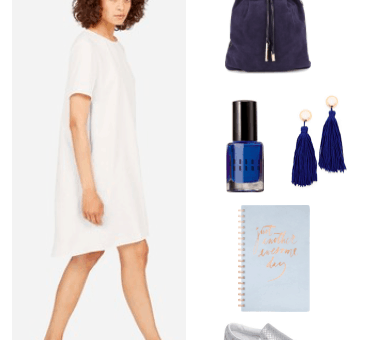 Little white dress outfit idea for daytime -- college outfit idea: White t-shirt shift dress, navy suede backpack, cute rose gold notebook, navy blue tassel earrings, cobalt nail polish, silver slip-on sneakers