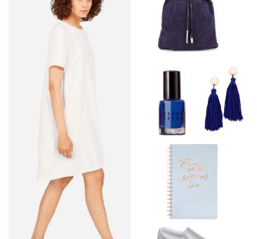 Little white dress outfit idea for daytime -- college outfit idea: White t-shirt shift dress, navy suede backpack, cute rose gold notebook, navy blue tassel earrings, cobalt nail polish, silver slip-on sneakers