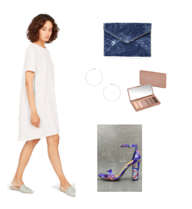 Little white dress outfit idea for night -- party outfit idea with white t-shirt dress, printed single strap heels, Naked 2 palette for smokey eye, hoop earrings, envelope clutch