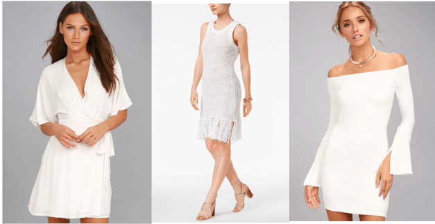 Little white dresses: V-neck wrap dress with kimono sleeves, sleeveless white tank dress with fringe, off-the-shoulder bodycon dress in white