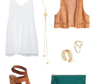 LWD, suede vest, wedges