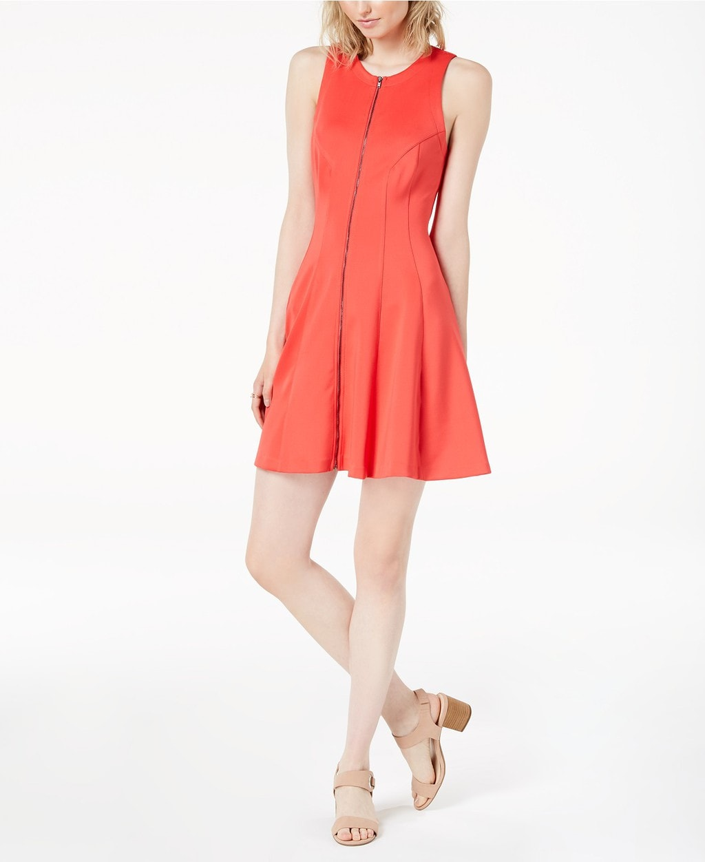 Sleeveless coral zip-front a-line dress with seaming
