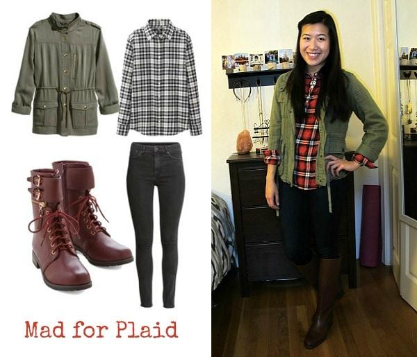 Cargo jacket, plaid shirt, boots