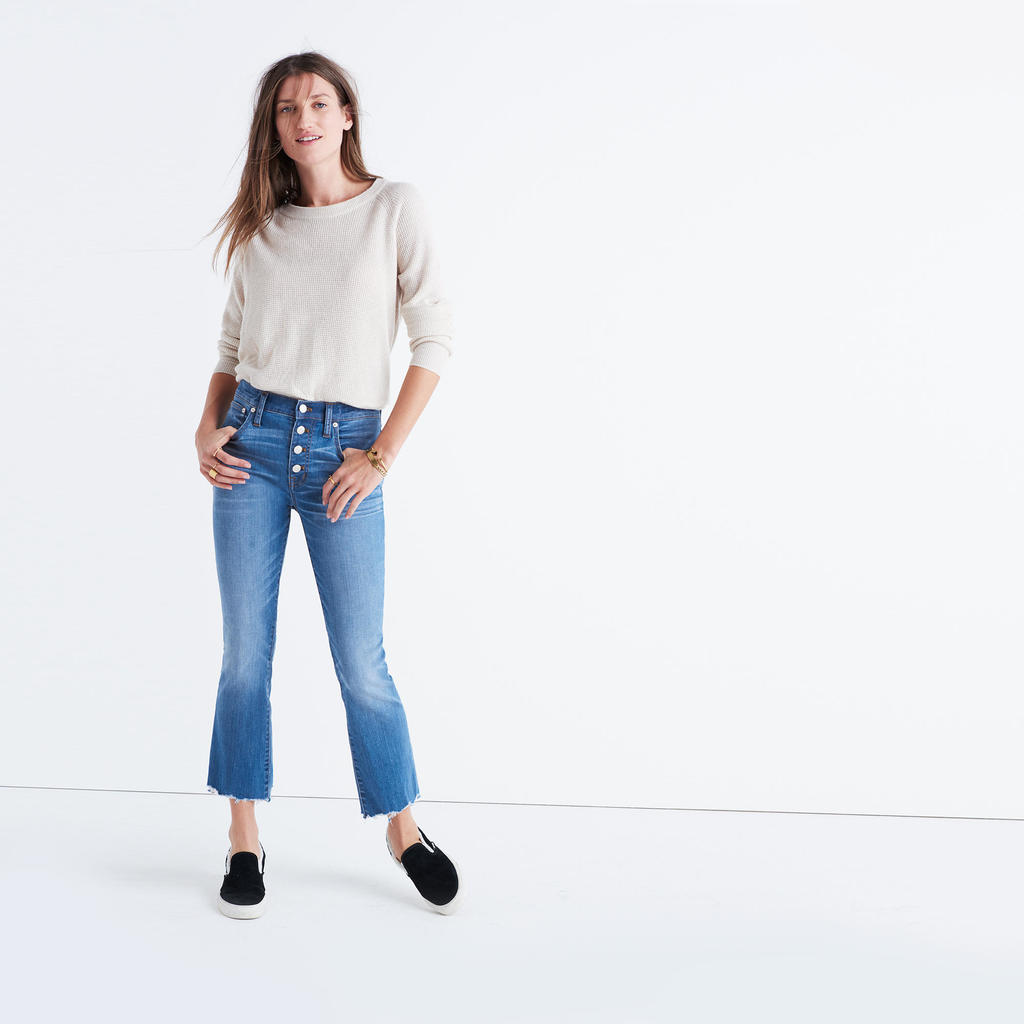 Madewell cropped bootcut jeans with frayed hem