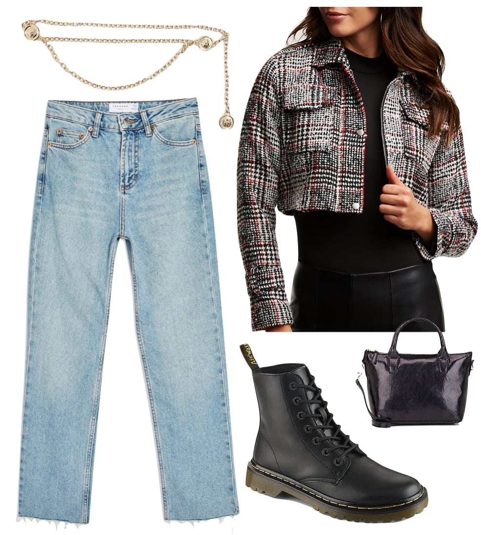 Madison Beer Outfit: plaid blazer, white t-shirt, high-rise straight leg jeans, silver hoop earrings, white dad sneakers