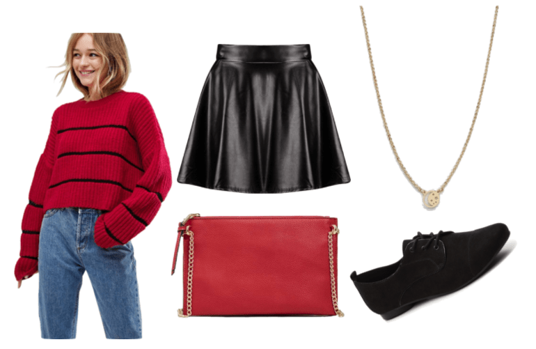 Outfit inspired by Mae from Night in the Woods: black leather skirt, moon and sun necklace, black oxfords, red crossbody, red and black striped sweater