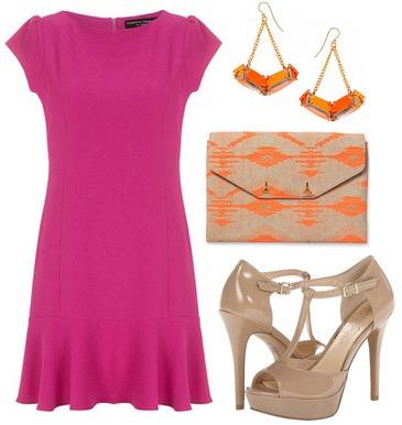 Magenta dress, orange earrings, printed clutch