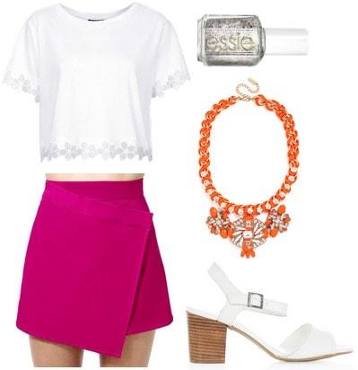 Magenta skirt, white blouse, orange necklace