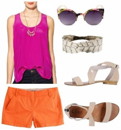 Magenta tank orange shorts sandals
