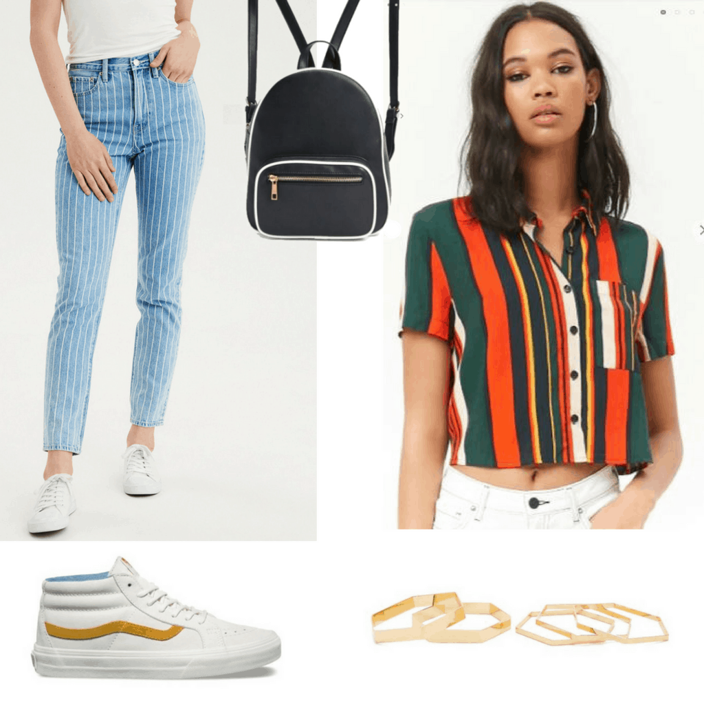 Pairing Stripes With Stripes: Striped High-Waisted Jeans; Multi-Colored Striped Shirt; Mini Backpack; Classic White Mid-Top Vans; Geometric Bangles