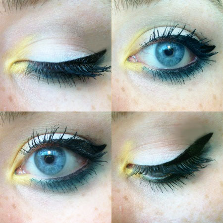 Yellow and blue eyeshadow look using the Make Up for Ever Technicolor Palette