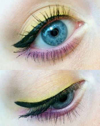 Yellow and purple eyeshadow look using the Make Up for Ever Technicolor Palette