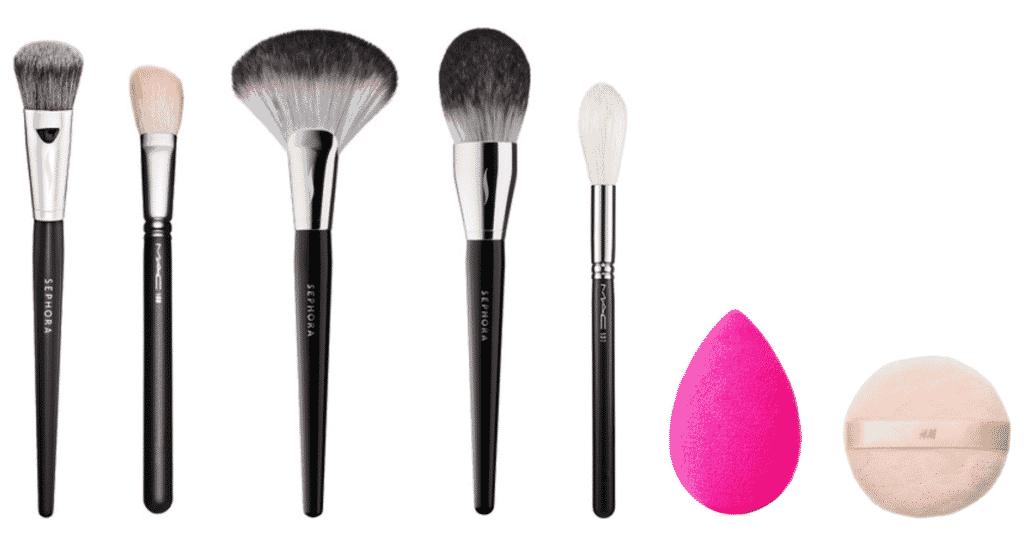 SEPHORA COLLECTION Pro Flawless Airbrush (make-up brush) #56, MAC 168 Large Angled Contour Brush, SEPHORA COLLECTION PRO Featherweight Fan Brush #92, SEPHORA COLLECTION PRO Featherweight Powder Brush #91, MAC 137 Long Blending Brush, beautyblender original makeup sponge applicator (hot pink), H&M Luxe Powder Puff in pale pink