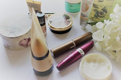 Beauty Products Scattered on a Table