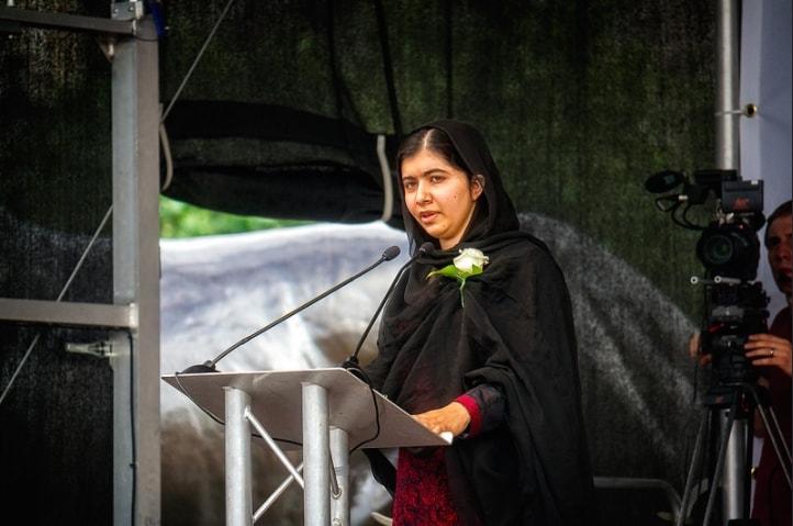 Malala gives a speech