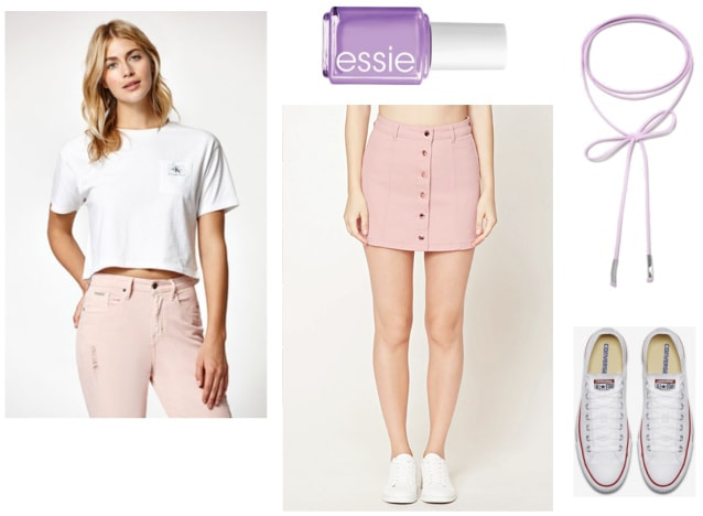 Mamamoo Yes I Am Music Video Fashion: Cute outfit idea with a pink button-front mini skirt, white cropped tee shirt, purple nail polish, purple wrap choker, white lace-up sneakers