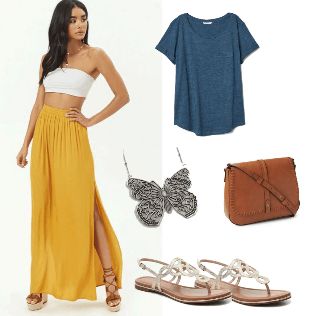 Get the look from Young Donna in Mamma Mia! Here We Go Again: Yellow Maxi Skirt; Blue Knotted Shirt; Traveler's bag; Butterfly Necklace; Metallic Sandles