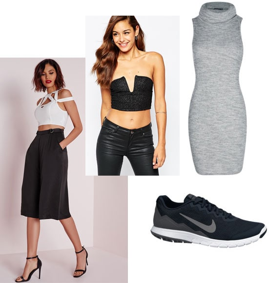 Party outfit inspired by Man Repeller - culottes, sneakers, crop top, dress