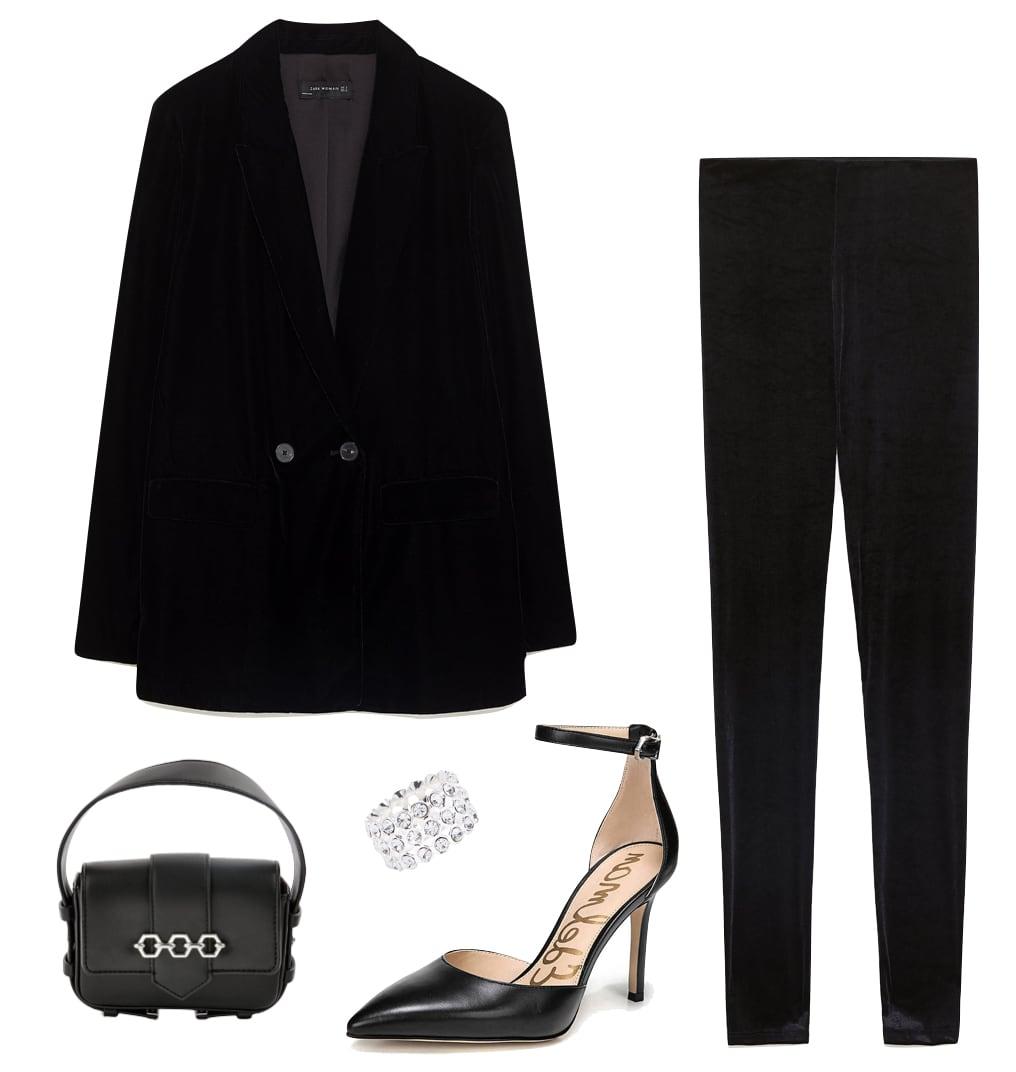 Mandy Moore Outfit: black velvet blazer, black velvet leggings, black ankle strap pointy-toe pumps, rhinestone ring, black mini handbag