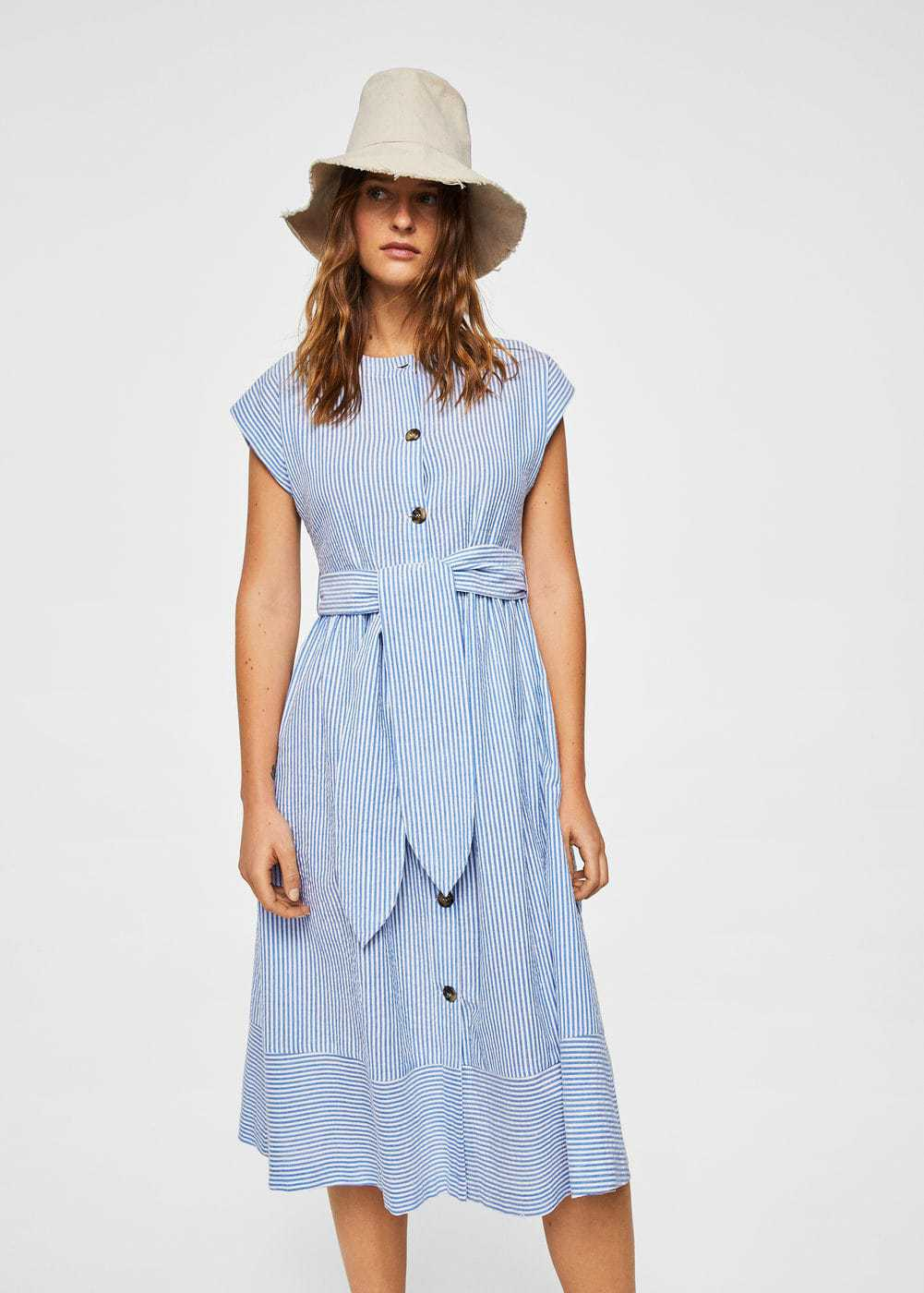 Blue-and-white striped midi tie-waist button-front midi dress with cap sleeves