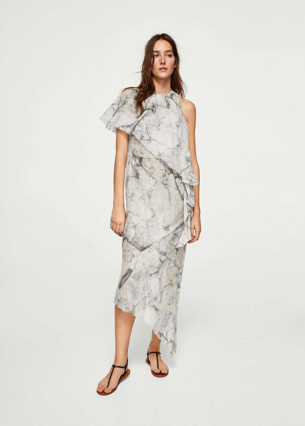 Gray and white asymmetric ruffle tie-dye midi dress with asymmetrical hem