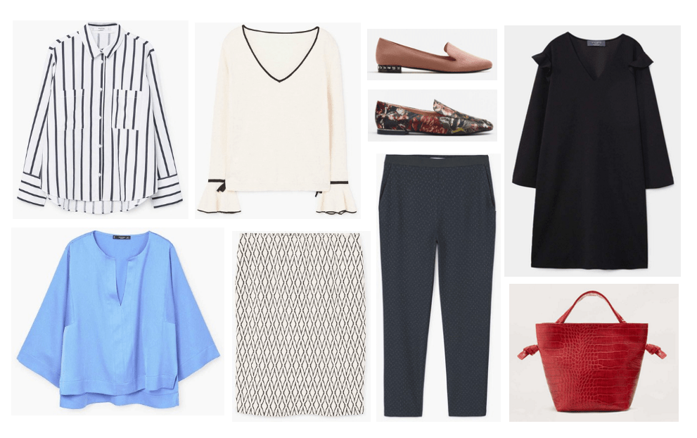 Best stores for work clothes on a budget: Mango. Cute workwear from Mango including a striped blouse, beige and black ruffle sleeve blouse, loafers in brown and floral embroidery, cape sleeve dress, printed pencil skirt, black trousers, red snakeskin tote bag