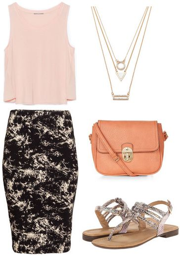 marble print skirt, pale pink top, snake print sandals