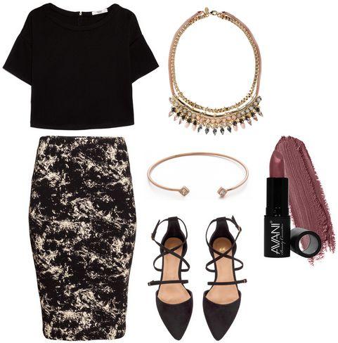 marble print skirt, black blouse, pointy-toe flats
