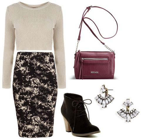 marble print skirt, cropped sweater, booties