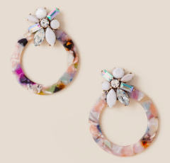 Photo of marbled resin statement earrings.