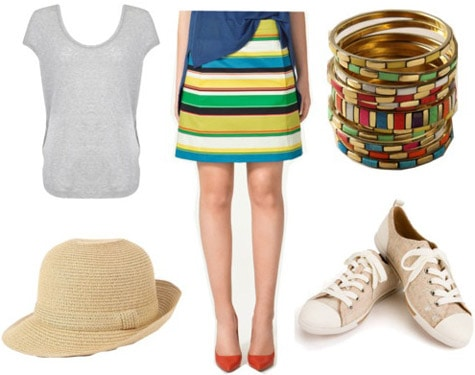 Outfit inspired by Marc by Marc Jacobs Spring 2011 - Striped skirt, basic tee, fedora, and sneakers