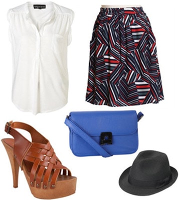 Outfit inspired by Marc by Marc Jacobs Spring 2011 - Patterned skirt, wooden heels, and bright blue bag