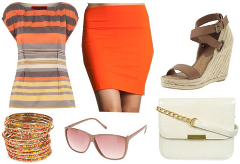 Outfit inspired by Marc by Marc Jacobs Spring 2011 - Orange skirt, striped top, espadrilles