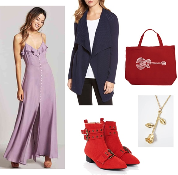 Caroline Forbes x Marceline the Vampire Queen outfit with purple maxi dress, cozy oversized navy sweater, bright red ankle boots, rose necklace, guitar tote bag