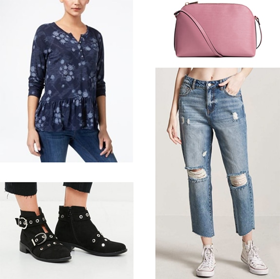 Marceline the Vampire Queen x Caroline Forbes outfit with Flowy long sleeve blouse, ripped boyfriend jeans, buckled ankle boots, pink crossbody bag