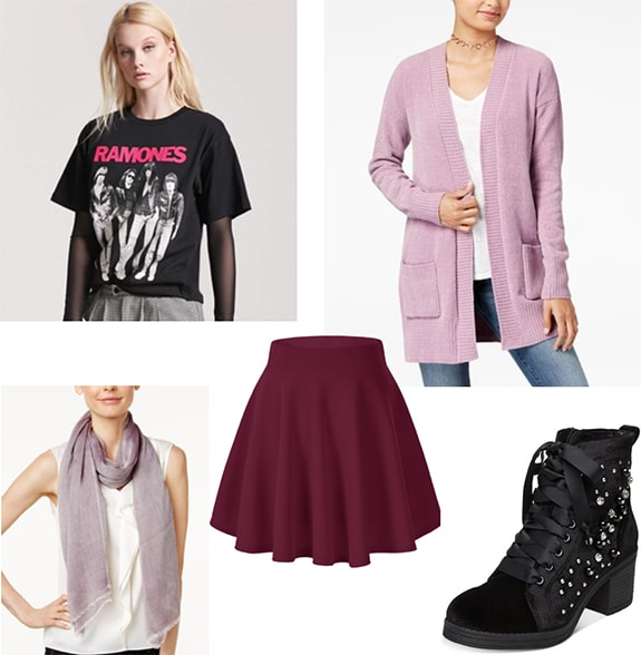 Marceline the Vampire Queen x Caroline Forbes outfit 4: Ramones tee shirt, mauve cardigan, light purple scarf, burgundy mini skirt, studded ankle boots