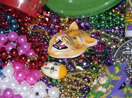 Mardi Gras beads and goodies