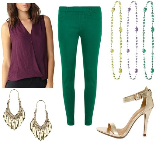 Mardi gras outfit purple top green pants
