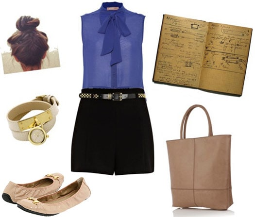 Fashion inspired by Marie Curie: Shorts, blouse, flats, tote, timeteller bracelet, notebook