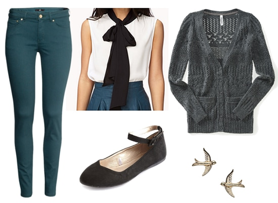 Marie laurencin outfit - colored skinnies, bow blouse, cardigan