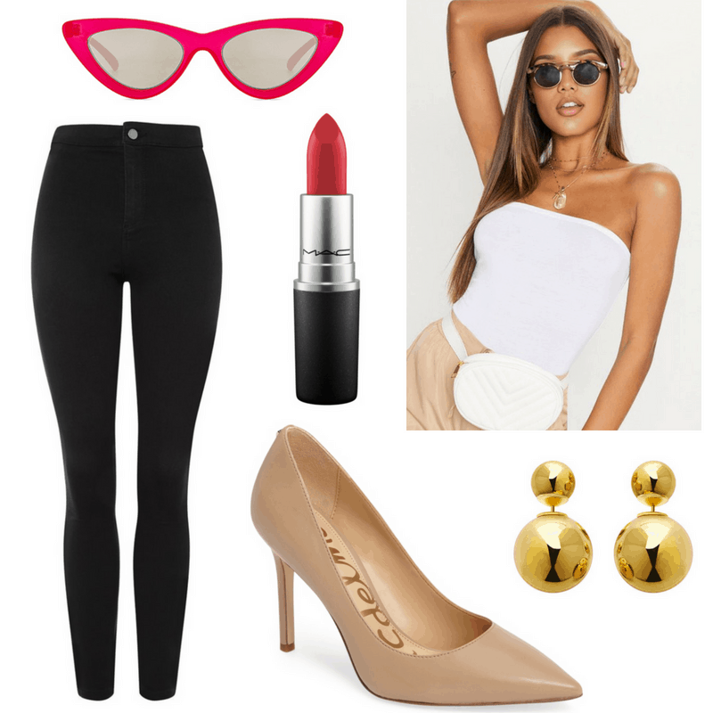 Marilyn Monroe style: Outfit inspired by Marilyn Monroe with strapless bodysuit, high-waisted jeans, nude pumps, red cat-eye sunglasses, red lipstick, gold earrings