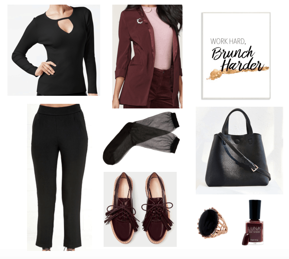 Outfit for the workplace with black cutout sweater and maroon/gold accents.