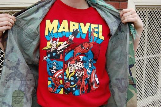 Marvel tee and camo jacket