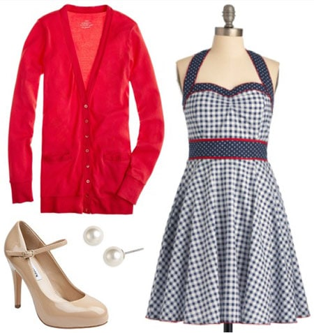 Outfit inspired by Mary from the Muppets: Gingham dress, red cardigan, nude mary-jane pumps, pearl stud earrings