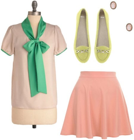 Outfit inspired by Mary from the Muppets: Pink skirt, pink and green bow blouse, yellow flats, stud earrings