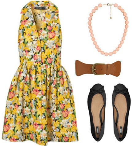 Outfit inspired by Mary from the Muppets: Yellow floral dress, black bow flats, brown belt, simple necklace