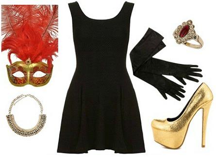 Masquerade costume - black dress Halloween costume ideas