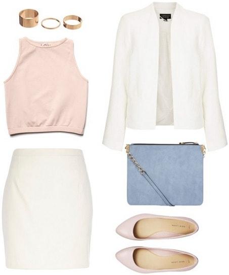 Matching skirt and blazer look