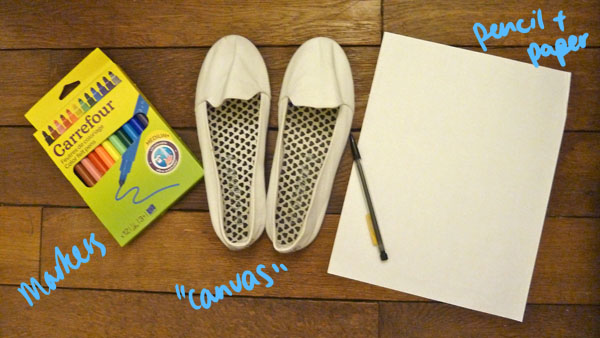Materials diy doodle shoe